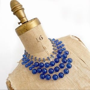 J CREW blue bauble bubble lucite cascade necklace.